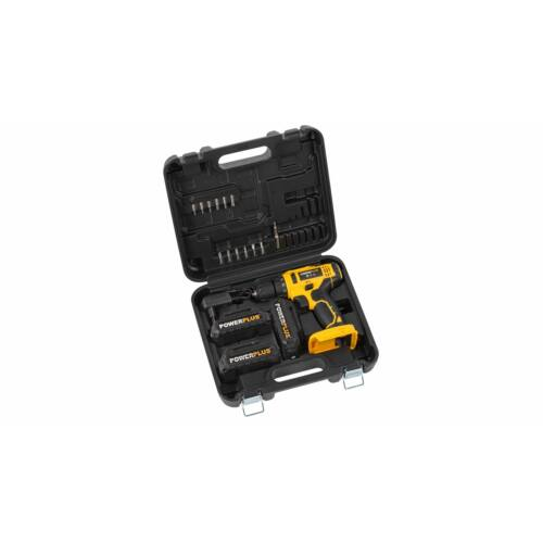 Powerplus akkumulátoros fúrócsavarozó 3db 20V akkuval kofferben  POWX00500