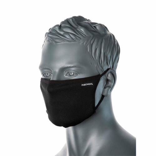 Portwest 3 rétegű textil arcmaszk anti-mikrobiális CV33 fekete