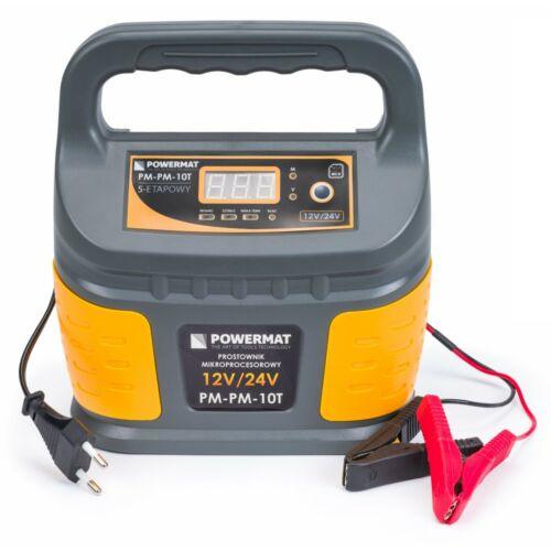 Powermat PM-PM-10T Akkumulátor töltő egyenirányító, mikroprocesszorral, 12 / 24V, 10A